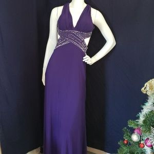 BETSEY & ADAM purple and sequins backless gown